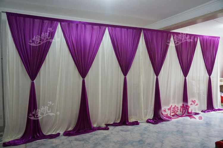 New Fashion 10ft20ft wedding stage curtain purple Wedding