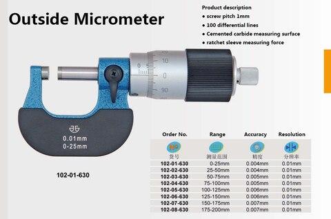 Directamente a Partir da Formatura Fora Micrômetro Pode Lida Passo 100 Dedal 0-25mm 25-50mm 102-01-630 Linha Riscada Micr Ser