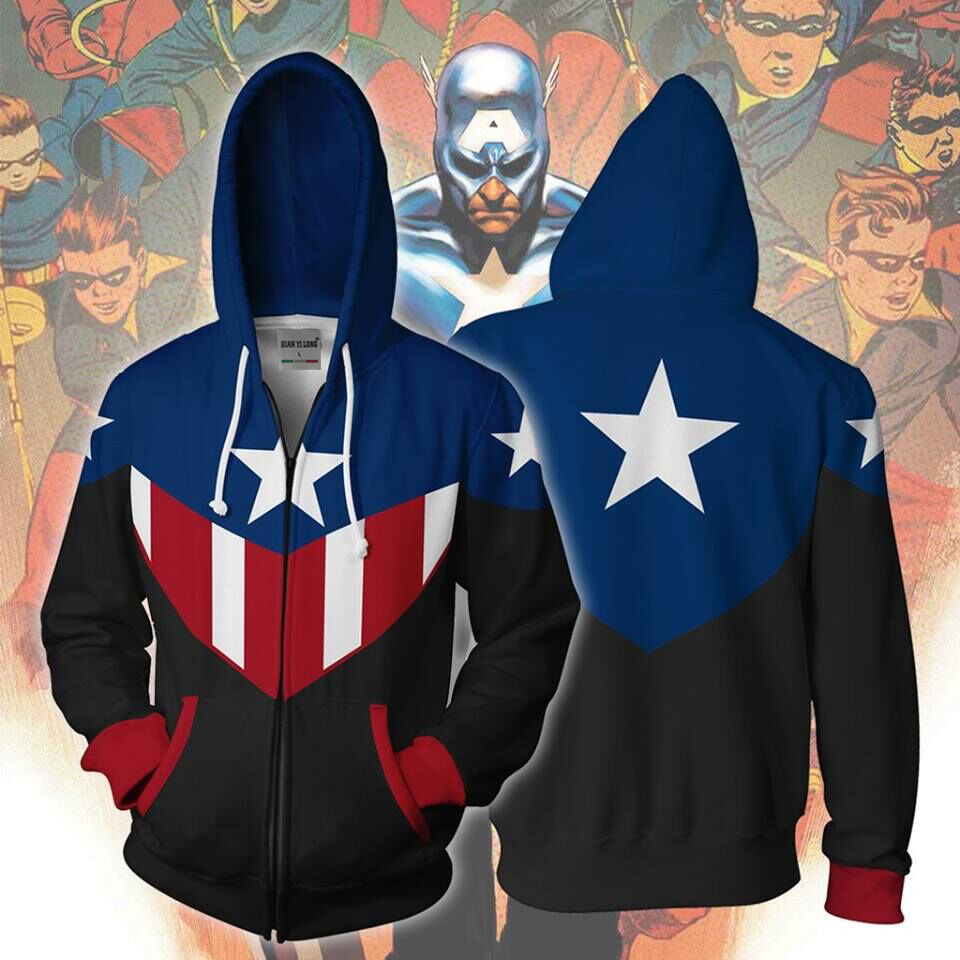 BIANYILONG 2019 new men hooded Bucky Captain America 3D printed hoodies tracksuit zipper hoodie hip hop tops free