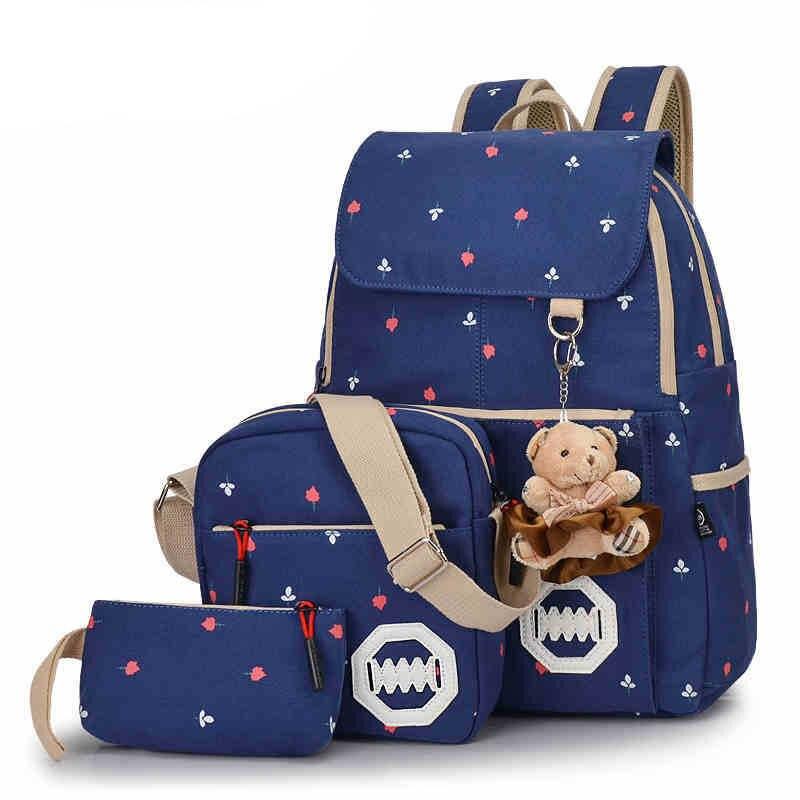 ФОТО 3 PCS/Set Stylish Canvas Printing Backpack Women School Bags for Teenage Girls Cute Bookbags Laptop Backpacks Female Bagpack