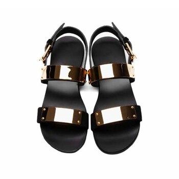 Fashion Men Sandalias Mujer 2018 Men Shoes Handmade Genuine Leather Sandals with Rivets Designer's Summer Sandals Male Slippers