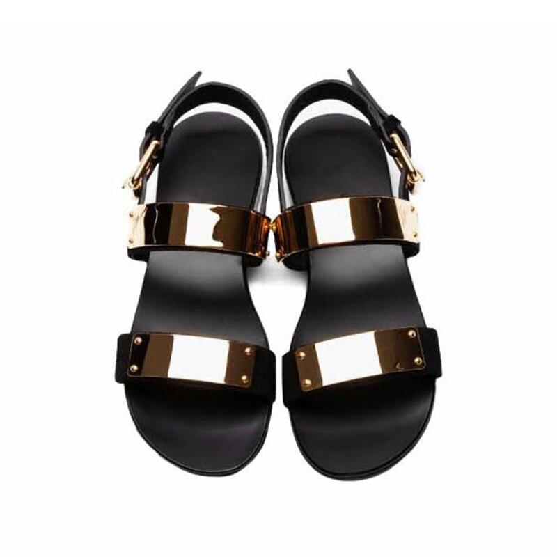Sandalias de moda para hombre 2018, zapatos para hombre, Sandalias hechas a mano de cuero genuino con remaches, Sandalias de verano de diseñador, Sandalias zapatillas para hombres Zapatos KATELVADI, sandalias de gladiador negras para mujer, sandalias de verano para mujer, Sandalias de tacón alto de 8CM con correa en el tobillo, sandalias para mujer, K-317