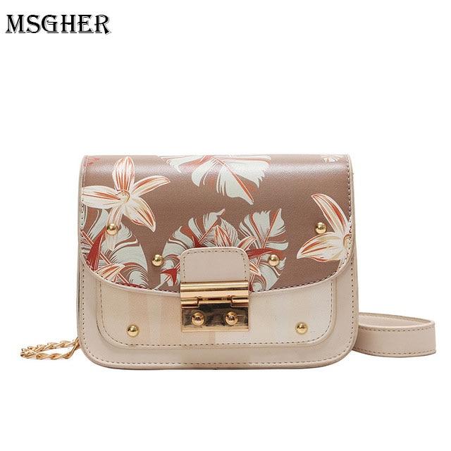 M.S Flower Leaf Print Elegant Panelled Handbags Mini Flap Women Crossbody Bag Summer PU Leather Office Lady Vogue Handbag WB458
