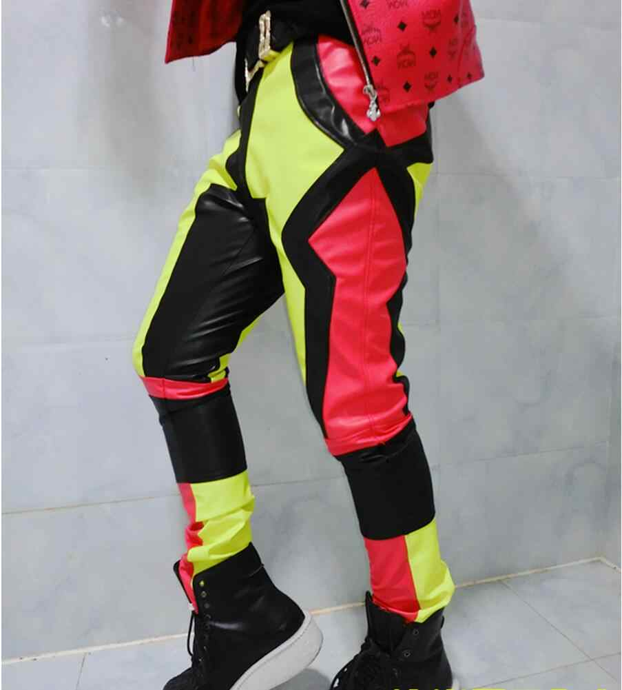 edf4c5cff40 S-5XL 2019 fashion men s brand stage motorcycle neon patchwork leather  pants trousers male plus
