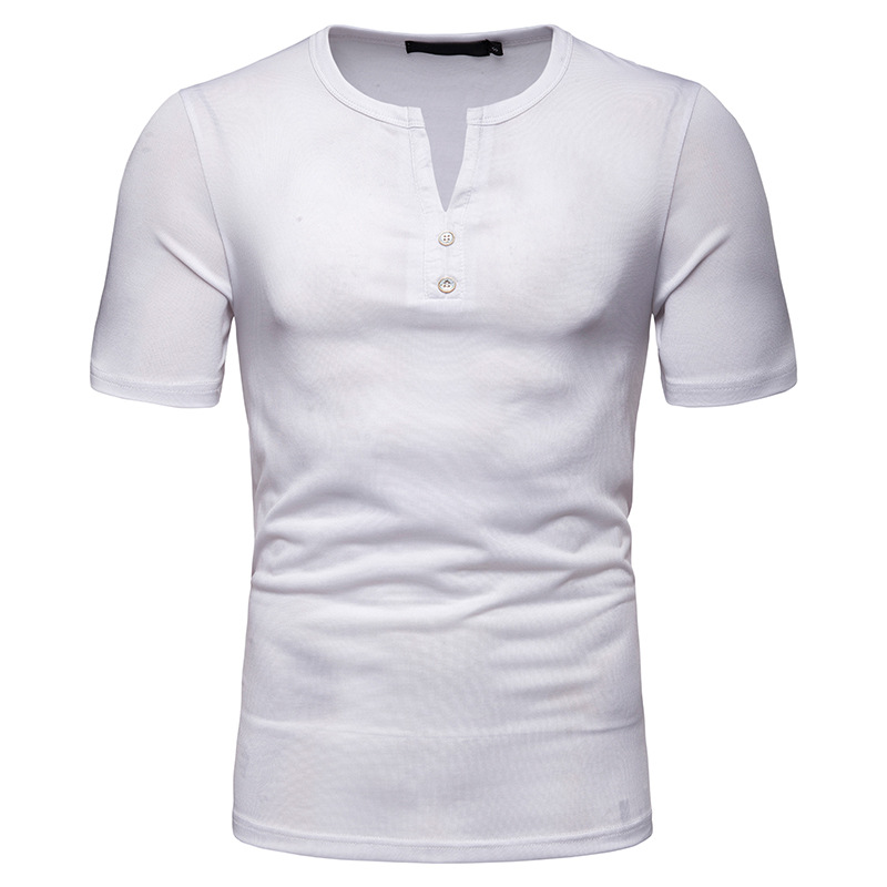 Men's Casual T shirt Blended Cotton Breathable Stitching V neck Short sleeved T shirt Streetwear Big Size T shirt male