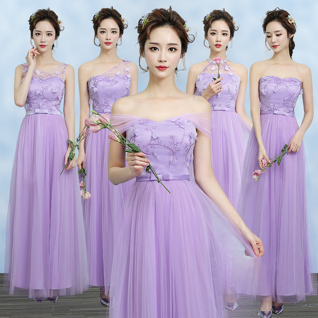 Sweet Memory Violet Bridesmaid Dresses Bride Sister Prom Dress Champagne Gray Sw0014 Factory Promotion