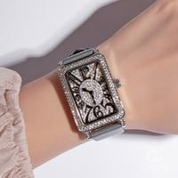 2019 Watch Women's Brand Lady Crystal Bling Woman Women Wrist Watch Fashion Leather Rectangle Watches Clock Female Wristwatches