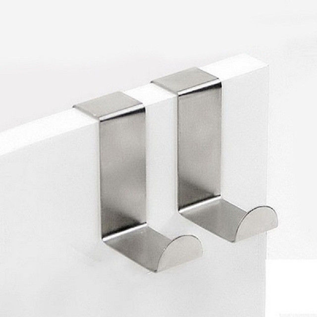 2PC Stainless Steel Hooks Silver White Steel Kitchen Cabinet Draw Over Door  Hook Clothes Hanger Holder