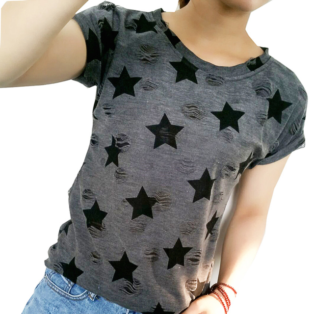 Women Plus Size Hole T shirt Ladies short sleeve star print vintage casual T-shirt big size