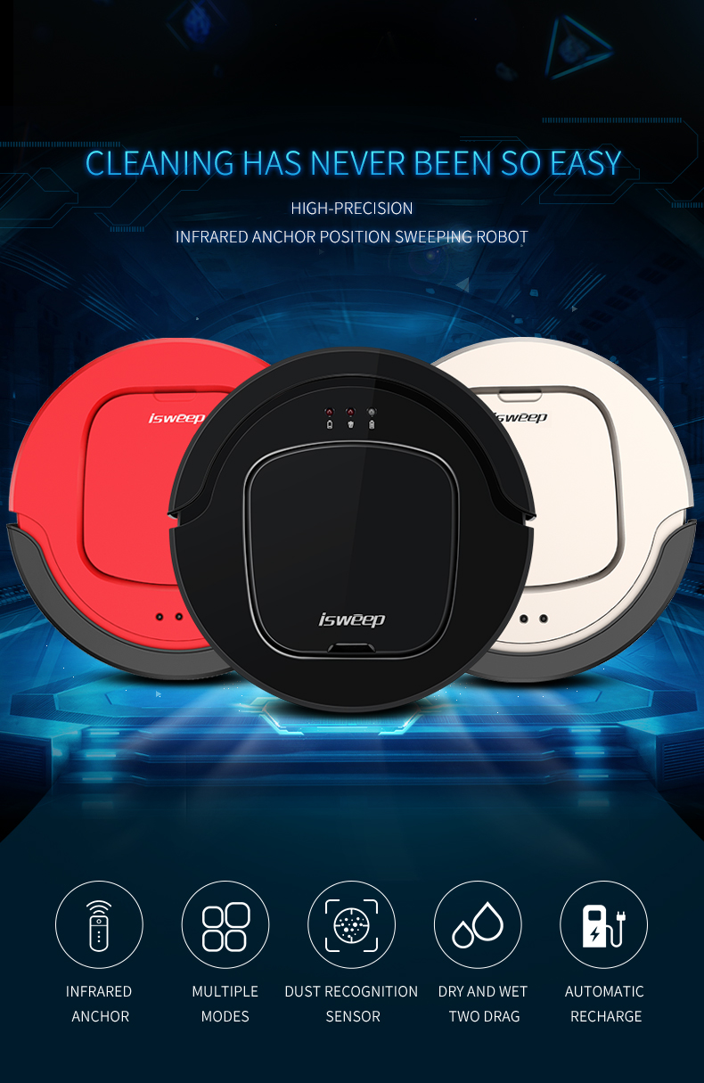ISWEEP S350 Smart Robot Vacuum Cleaner Wireless Automatic Vaccum Robot For House 4  Colors