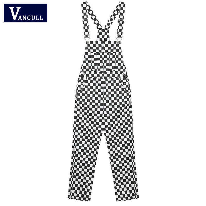 Vangull 3XL 2019 nuevo Retro Hip Hop negro Plaid blanco tablero de celosía de Harajuku largo mono pantalones Plus tamaño