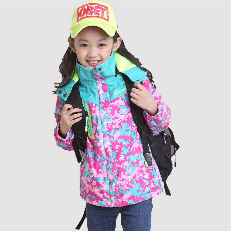 ФОТО Kids clothing girls sports outdoor jacket waterproof breathable camouflage hooded girls skiing outwear coat New Autumn