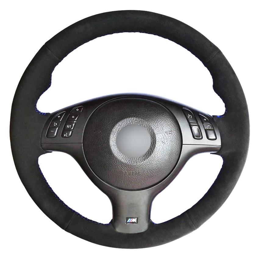 Black Suede DIY Hand-stitched Car Steering Wheel Cover For BMW E46 E39 330i 540i 525i 530i 330Ci M3 2001-2003