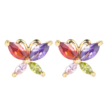 Fashion Women Muti-Color Cubic Zirconia Colorful CZ Butterfly Stud Earrings