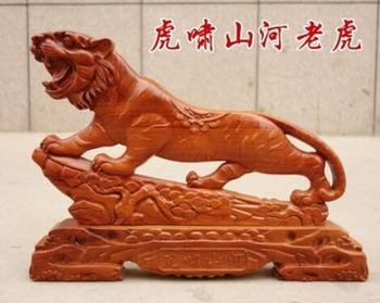 Mahogany tiger furnishings wood carving zodiac animal office town house ward off evil arts and crafts living room home access