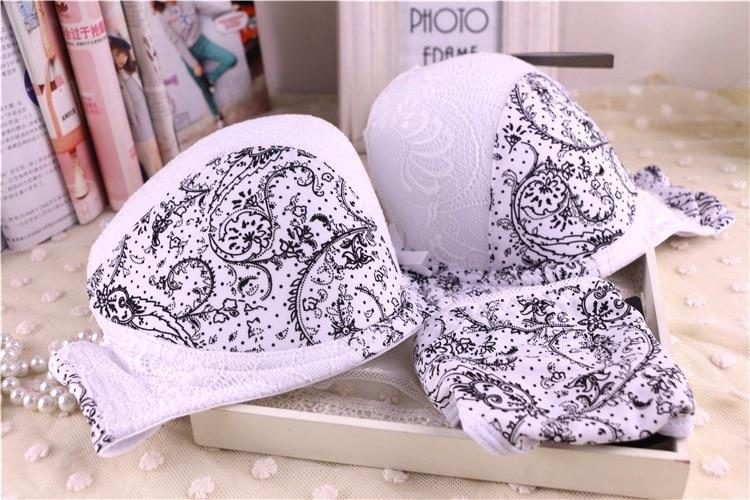 White Plus Size 36 38 40 C Dd E Cup Intimate Lingerie Bra Set Lace Floral Gay Underwear Push Up Bra T Set Secret Women B3 Cheap Sales Women's Intimates Bras