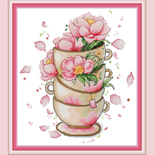 Joy Sunday,Flower on coffee cup,cross stitch embroidery set,printing cloth embroidery kit,needlework,DIY cross stitch embroidery