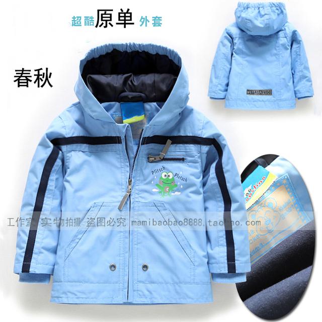 Envío gratis nuevo 2014 otoño primavera ropa de bebé teach bebé capa del muchacho de los niños de los hoodies chaquetas a prueba de viento bebé prendas de vestir exteriores