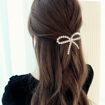 Elegant Bowknot Pearl Hair Clips Barrette Accessories For Women Lady Girls Bow Hairpin Hair Ornament Hairgrip Hairclip Headdress 3 4 5pcs pearl hair clips women hairpin girls hairpins barrette bobby pin hairgrip hair accessories dropship ins hot sell new
