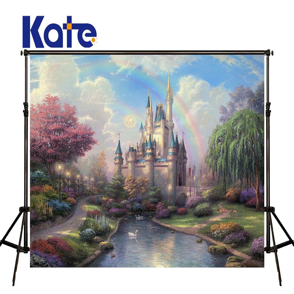 Kate 8x8ft Fairy tale Castle Wedding Background Rainbow Purple Floral Backdrop for Children Photography Shoot vinyl photography background fairy tale