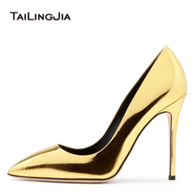 Shiny Gold Pointed Toe High Heel Basic Pumps for Women 2018 Black Court Shoes Sliver Patent Leather Stiletto Heels Ladies Shoes elegant white patent leather wedding shoes women pointed toe high heel pumps stiletto heel court shoes pointy dress heels 2018