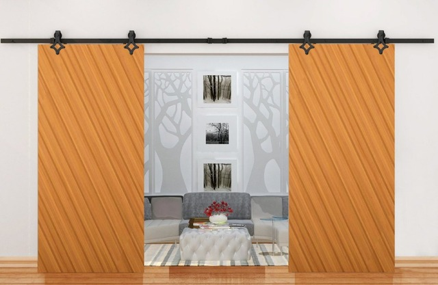 Double Sliding Barn Door Heavy Duty Modern Wooden Door Hardware BLACK