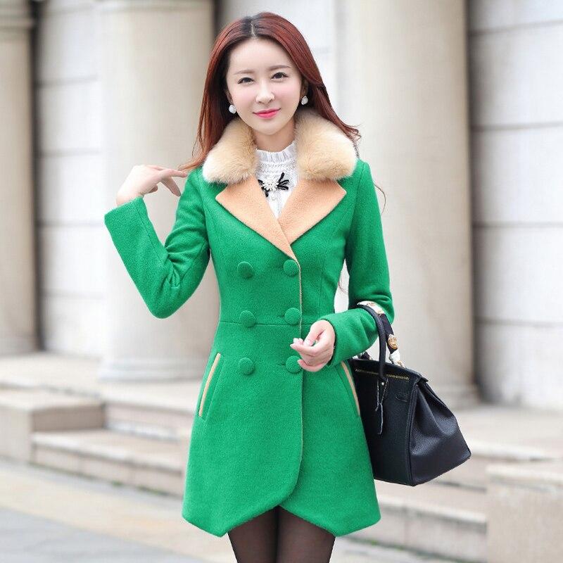 Longue Blue Femmes royal Automne Manteau green Mi Mince Laine Fourrure Printemps red light H304 De Col Nouveau Mode Black Section Banlieue 2017 Survêtement Pur Aq01O