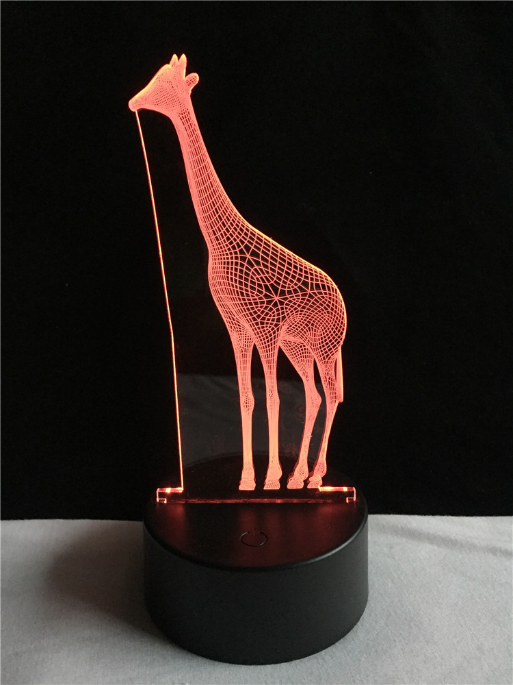 Amusing 3D African Animal Giraffe Desk Lamp Vision 7 Color Gradient - Night Lights - Photo 3
