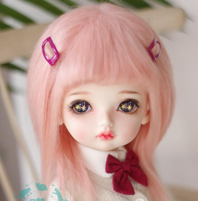 "3/""-4/"" 9-10cm BJD fabric fur wig Wine red for AE PukiFee lati 1//12 Doll Antiski"