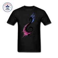 2017 Newest Fashion Funny Split Music Note Cotton T Shirt For Men