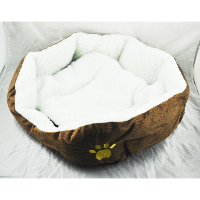 Boutique  Luxury Unique Warm Indoor Soft Pet Dog Cat Bed + Cushion Dog Puppy Sofa House Bed with Mat Supplies L Brown