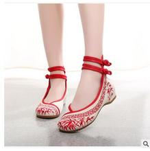 Free shipping  Fashion Women's Shoes Mary Jane Flat Heel Denim Flats with Embroidery Soft Sole Casual Shoes Plus Size 34-41