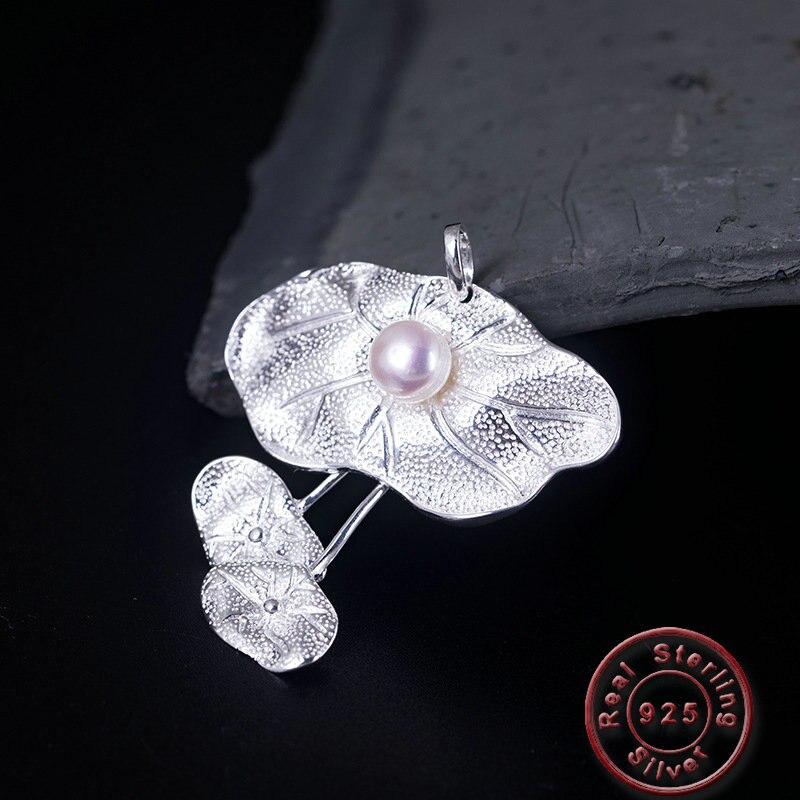Amxiu perle d'eau douce naturelle Pendentif 925 collier en argent À La Main Lotus Feuille colliers pendentifs Pour Femmes sweat maléfique