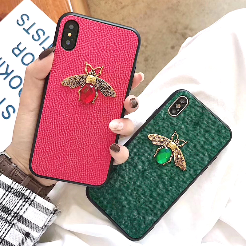 Luxury Fashion brand Diamond Bee Glitter soft case for iphone 6 S 7 8 plus X XR XS Max Cute Hard Cover for iphone 7 8 6S 5 5S SE (8)