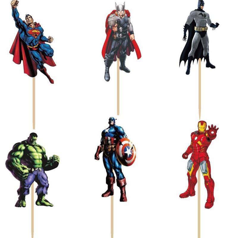 720 pièces Super héros Spiderman dessin animé Cupcake Toppers pics manufacture garçon enfant fête d'anniversaire evnent décorations nourriture friut pics-in Décoration de gâteau from Maison & Animalerie    2