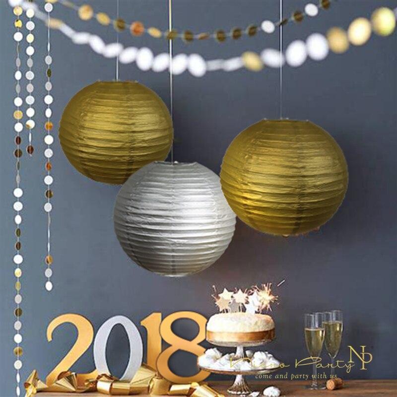 Nicro 10'' Gold Silver Round Paper Lanterns Lamp Round ...