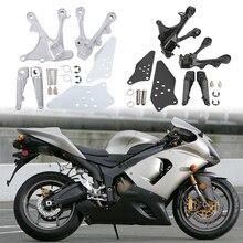 Motorcycle Front Footrest Foot Pegs Bracket Kit For KAWASAKI ZX636 2005-2006 ZX6R 2005-2008 2007 цены онлайн