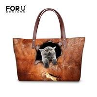 3D Black Cat Pattern Bags Ladies Messenger Bag Women Top Handle Bags Female Big Tote Hand