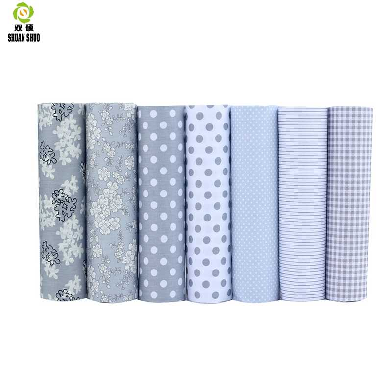 100% Tissus Cotton Fabric Telas Patchwork Fabric Fat Quarter Bundles Fabric For Sewing Doll Cloths Gray Color  40*50cm 7pcs/lot