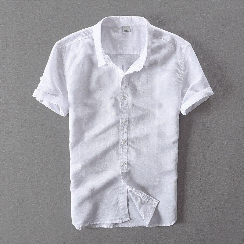 Estilo simples Moda Turn-down Collar Manga Curta Camisa Branca Homens - Roupas masculinas