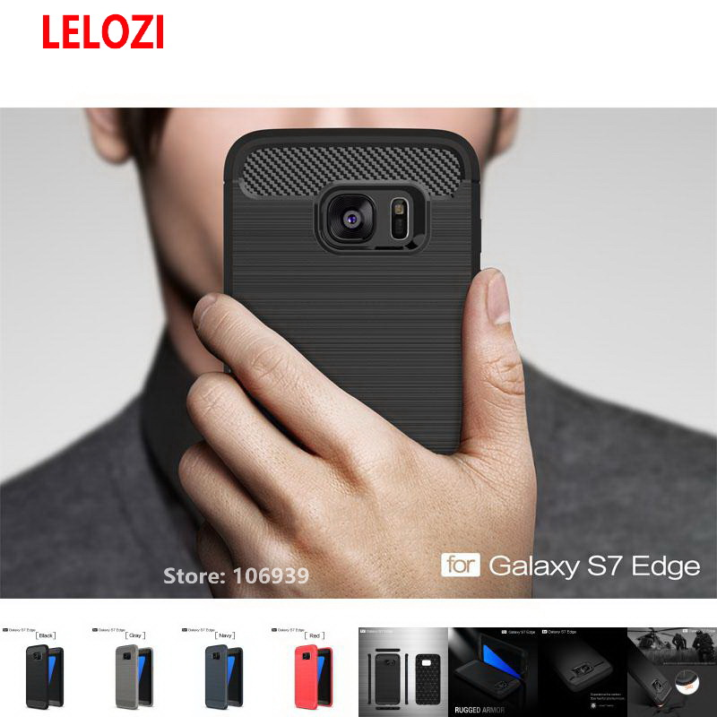 LELOZI Soft TPU ShockProof Armor Rugged Carbon Fiber Brushed Men Phone Coque Etui Case fundas Cove For Samsung Galaxy S7 Edge