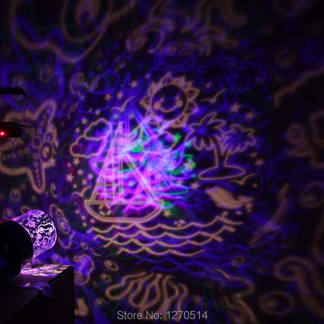 Romántico vida marina lámpara del proyector, giratoria automática LED océano vida luz, luz de la noche, enviar a sus amigos, enviar a regalo de los niños