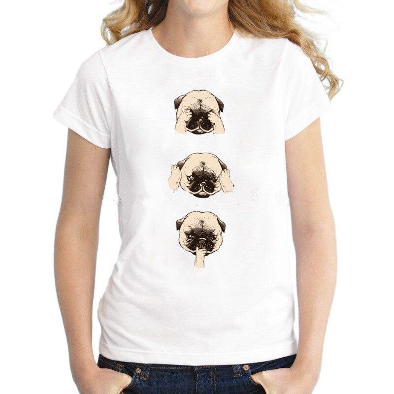 Vendita calda di modo Pug donne divertente t-shirt manica corta lady casual tops animale cane pug stampato novita tee fresco