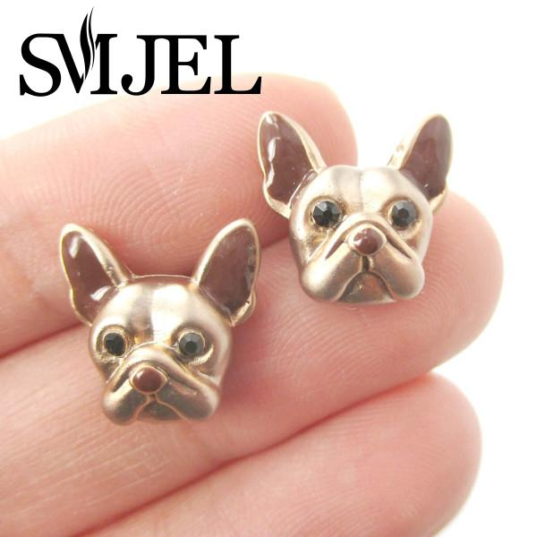 SMJEL New Arrival Punk French Bulldog Puppy Face Stud Earrings for Women Animal Jewelry for Dog Lovers Gifts S105