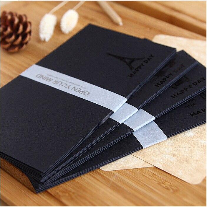 5pcs/lot Karft Paper Envelopes Black Hot Stamping Decorative Envelopes For Invitations Simple Vintage Business Envelopes Gifts