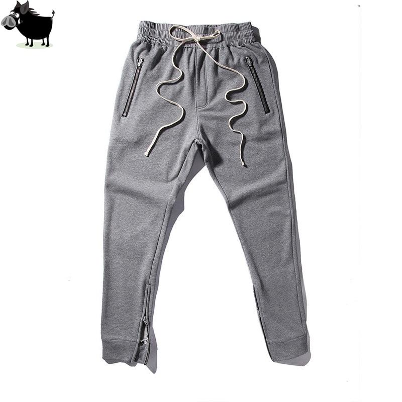 Professional Sale Bending Line 2018 Kanye West Hip Hop Clothing Men Joggers Jumpsuit Chino /green Side Zipper Harem Justin Bieber Pants Men's Clothing