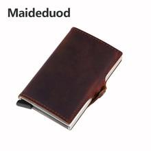 Maideduod  New Genuine Leather Metal Men Card Holder RFID Aluminium Fashion Credit With Blocking Mini Wallet