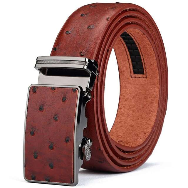 CUKUP Personality Designer Ostrich Pattern White off Cowskin Leather Waist Belt Casual Automatic Buckle Trousers Men BeltsNCK436