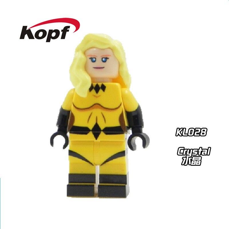 Super Heroes X-Men Crystal Crystalia Dazzler Cute Figures Inhumans Royal Family Building Blocks Bricks Toys for children KL028