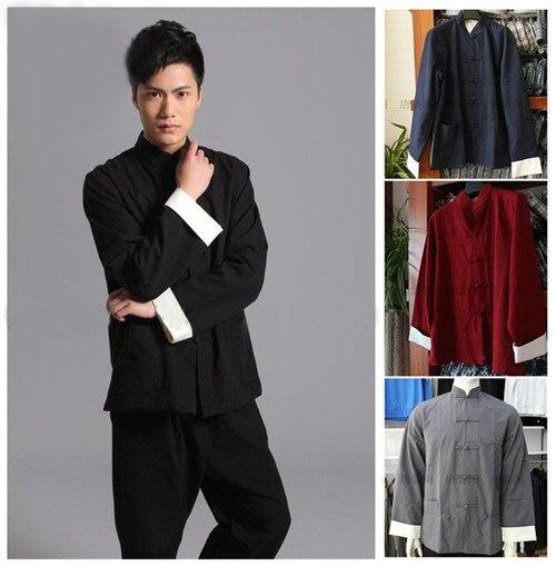 Schwarz Chinesischen männer Kung Fu Jacke 100% Baumwolle alten groben Vintage mantel wing chun tai chi kleidung tang-anzug tops mantel